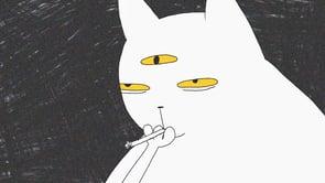 """Im Kurzfilm """"fluffy's third eye"""" öffnet eine Zeichentrickkatze ihr drittes Auge und ich weiß auch nicht"""