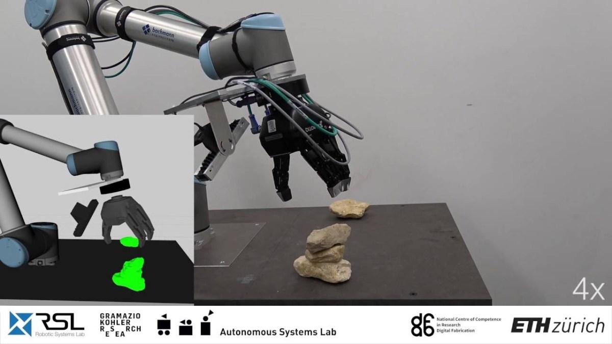 Ein autonomer Roboter, der unregelmäßig geformte Steine stapeln kann