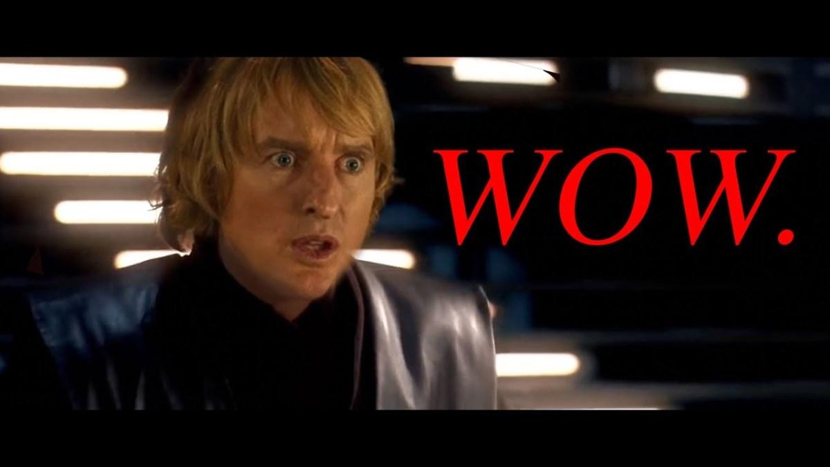 """Star Wars"", aber Owen Wilson sagt ""Wow"" bei den Lightsaber-Geräuschen"