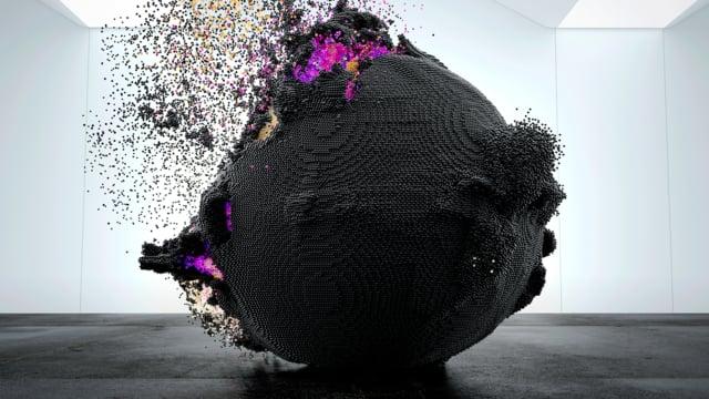 """Der Kunstfilm """"Supernova"""" zeigt uns Explosionen mit vielen bunten Partikeln"""