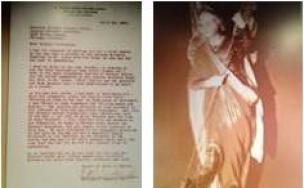 Lettre du Père Bowdern et Statue de Saint-Michel