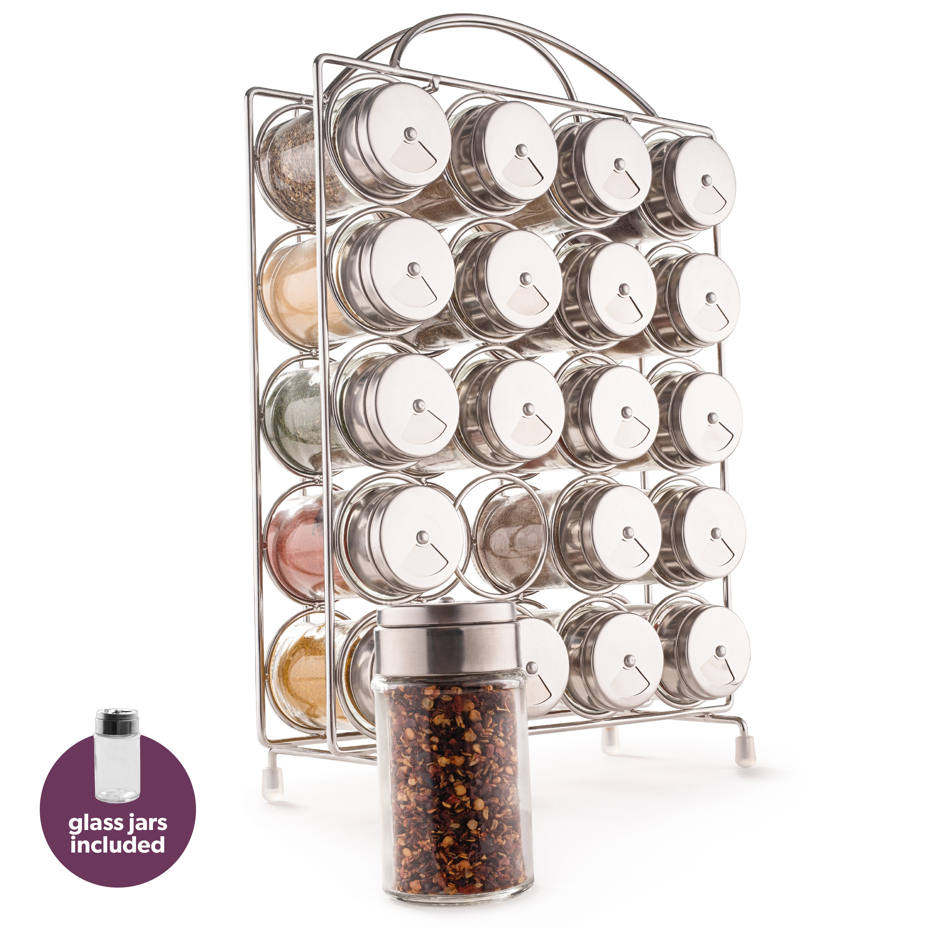 vertical spice rack organizer 20 jars included