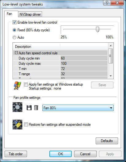 You will now be able to select it from the Fan profile settings groupbox towards the bottom of the window.