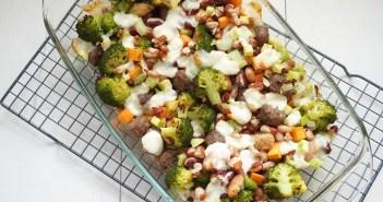 bonenschotel met broccoli en mozzarella