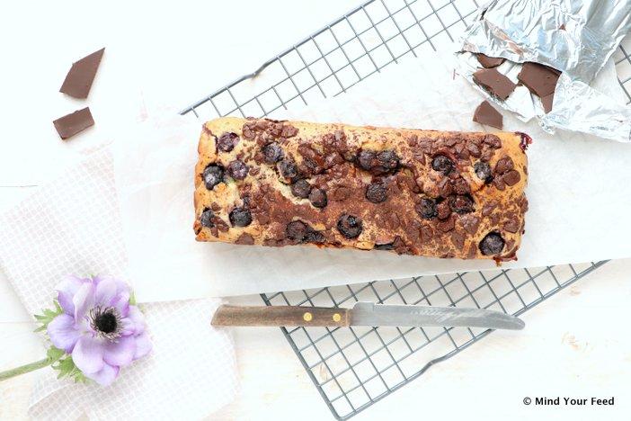 blauwe bessen cake met chocola