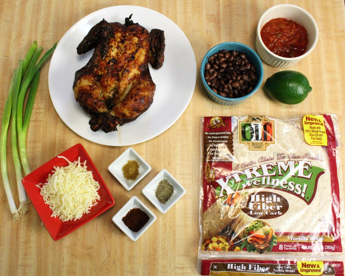 Chicken & black bean burrito ingredients
