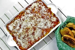 Mixed-Up Lasagna combines rotini, ground beef, onion, cheeses, Italian seasoning and jar pasta sauce to make an easier version of this classic dish.
