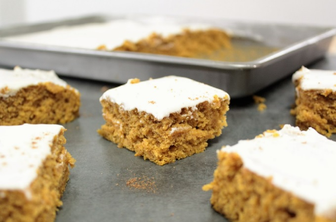 The white flour combined with wheat flour as well as yogurt in the frosting make this recipe for Pumpkin Sheet Cake a little healthier than traditional recipes.