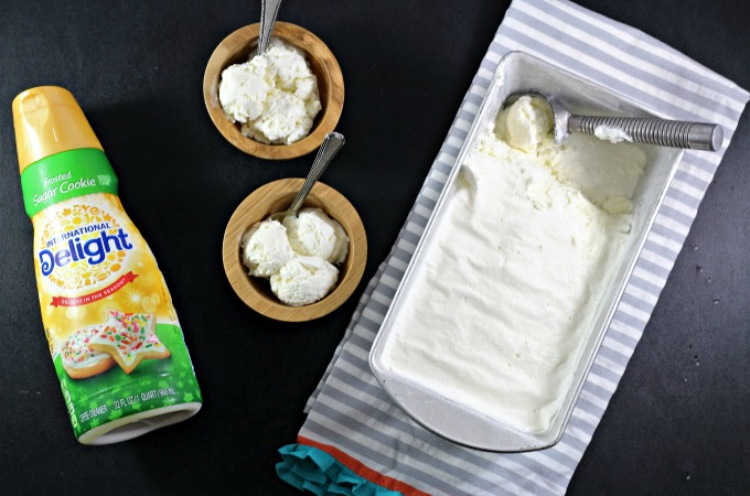 No churn Sugar Cookie Ice Cream only requires 3 ingredients; heavy cream, sweetened condensed milk and International Delight Creamer. Simple and delicious!