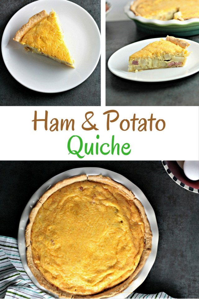 Ham and Potato Quiche features eggs, heavy cream, diced ham, potatoes, and onions, and of course cheddar cheese. Great for breakfast, brunch, or dinner!
