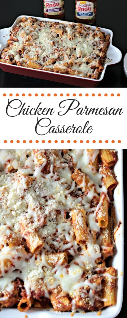 Chicken Parmesan Casserole features breaded chicken, pasta, jar sauce, mozzarella, and Parmesan cheeses. A new and delicious way to eat a classic dish!