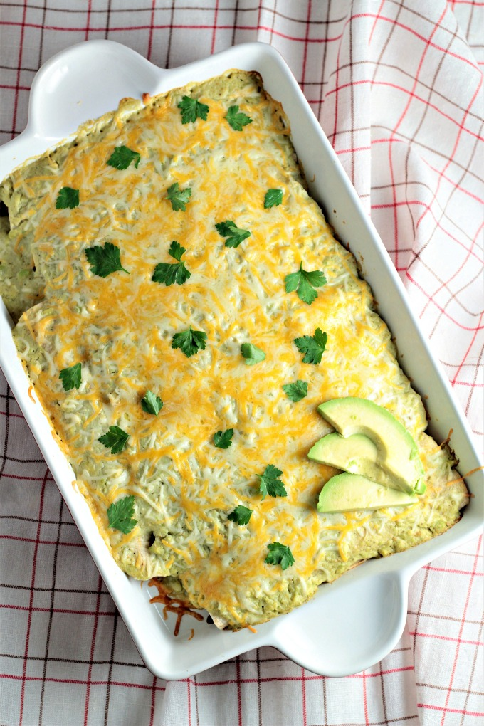 Skinny Beef Enchiladas with Creamy Avocado Sauce is a great low calorie and lowfat version of this classic Mexican dish. Easy, nutritious, and delicious!