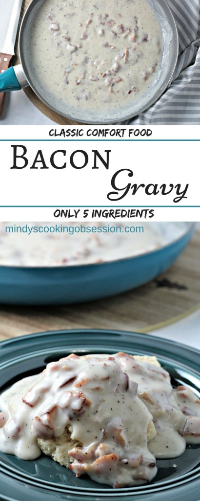 Bacon Gravy (Country Gravy) only requires 5 ingredients. Bacon, fat, flour, milk, salt and pepper is all you need to make this classic comfort food!