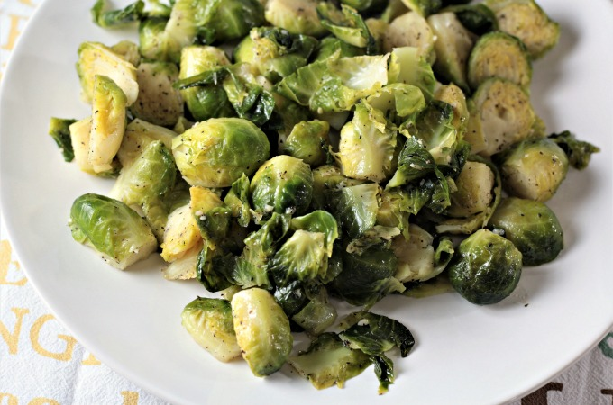 Super Easy Pan Fried Fresh Brussels Sprouts Mindy S Cooking Obsession