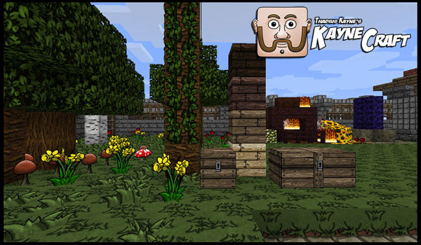 a garden, decorated by kaynecraft texture pack.