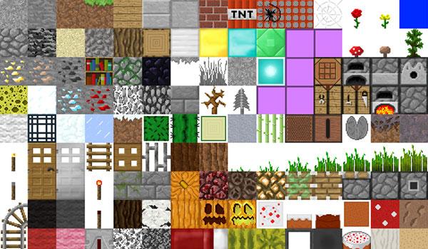 imagen de varios bloques del juego, decorado con la textura Faithful 1.15, 1.14 y 1.12.