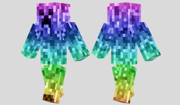 Rainbow Creeper Skin for Minecraft