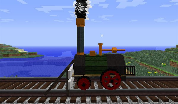image where we can see the design of the mod added locomotive Rails of War 1.7.2 and 1.7.10.