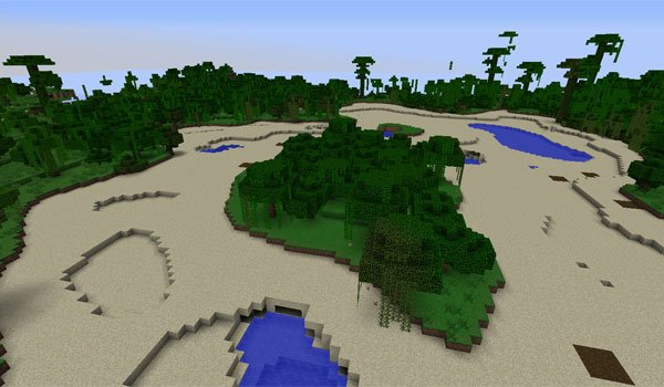 image of an oasis in the forest, this is one of praise things that allows alternate terrain generation mod