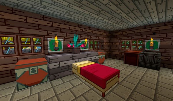 picture inside a room in Minecraft, decorated with Adventure Time Craft Texture Pack 1.7.2.