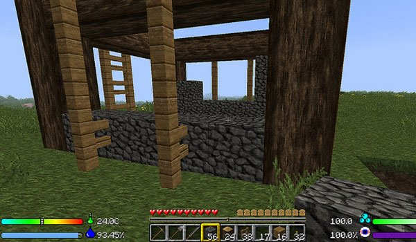 image where we see how the buildings are solid, since gravity affects them, with the mod Enviromine 1.7.2 and 1.7.10.