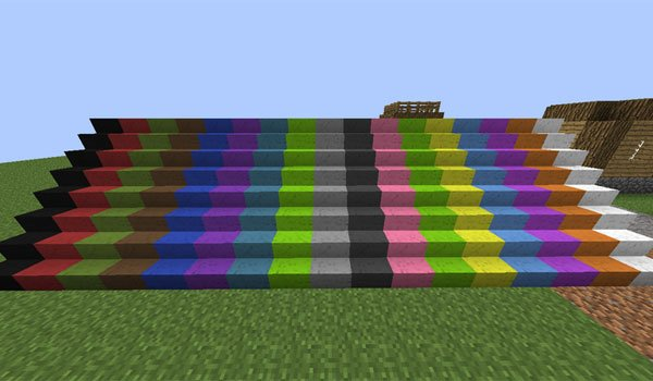 image where we see stairs are painted using the wall painter mod 1.7.2 and 1.7.10.