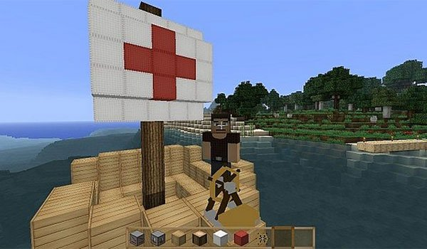 image we see a ship sailing on Minecraft, thanks to ships mod 1.7.10.