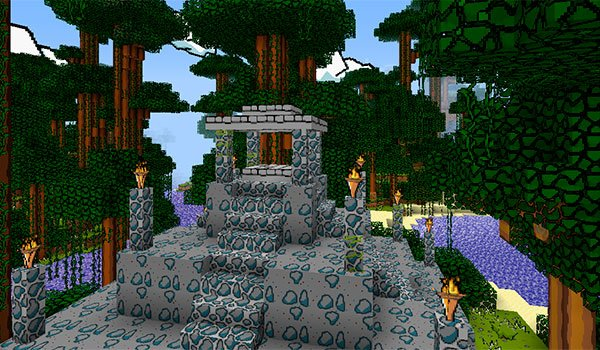 picture of a temple in the jungle of Minecraft, decorated with The Scribblenauts Texture Pack 1.8.