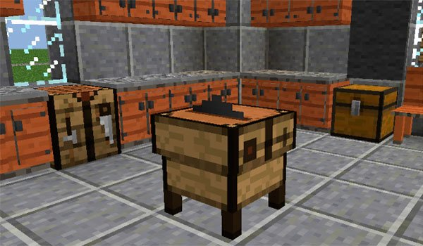 picture where we see the new cutting table, adding by decoration mega pack mod 1.8.