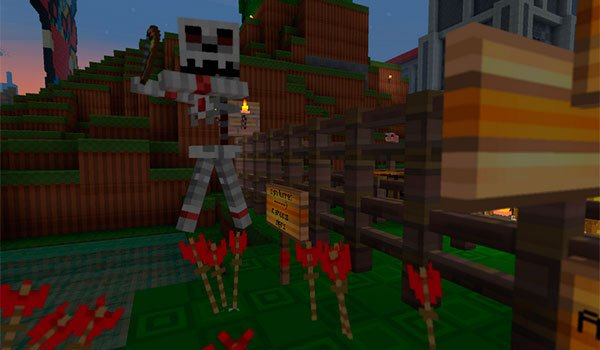 picture where we see a skeleton of Minecraft, with zekocraft 1.8 textures.