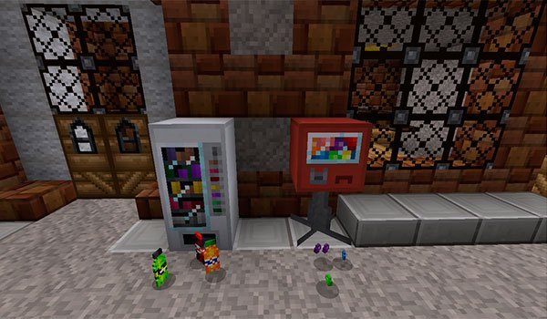 image we see two vending machines on a street in Minecraft.