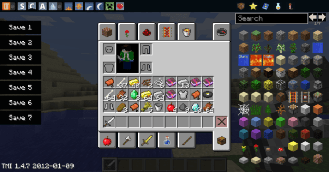 Mod TooManyItems 1.7.10 gives us a huge menu with a whole selection of items with a convenient search interface which will allow us to quickly find the necessary ...