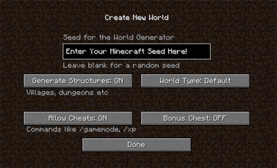 Minecraft Seed Creation