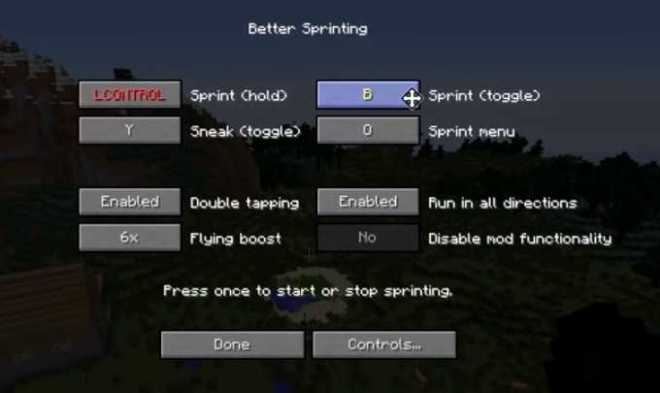 Better Sprinting Mod for Minecraft