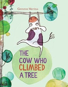 cow climbed tree