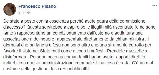 Post del consigliere Francesco Pisano