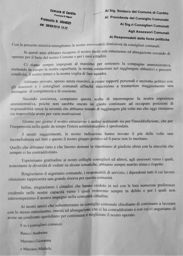 """Lettera di dimissioni dei tre consiglieri di """"Cambiamo Verso"""""""