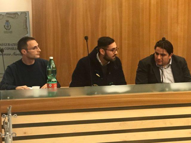 I tre consiglieri subentrati: da sinistra Setola, Iannicelli e Salvato
