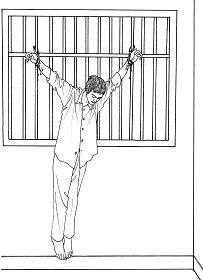 中共酷刑示意图:吊铐