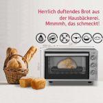 ICQN Mini four de 42 litres avec éclairage intérieur et recirculation – Mini four à pizza – Double vitrage – Fonction minuterie – Émaillé – Gris Inox