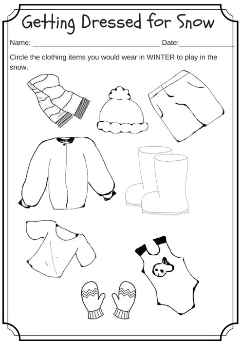 winter weather wear preschool worksheet what would you wear on a cold day miniature masterminds. Black Bedroom Furniture Sets. Home Design Ideas