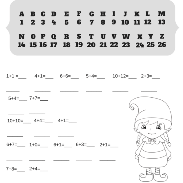 Addition Christmas Code Breaker Worksheet. Break the Elf Code!