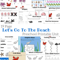 Let's Go To The Beach Free 19 Page Preschool Ocean and Beach themed Printable Unit