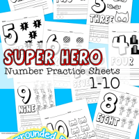 Free Printable Super Hero Number Practice Sheets 1- 10