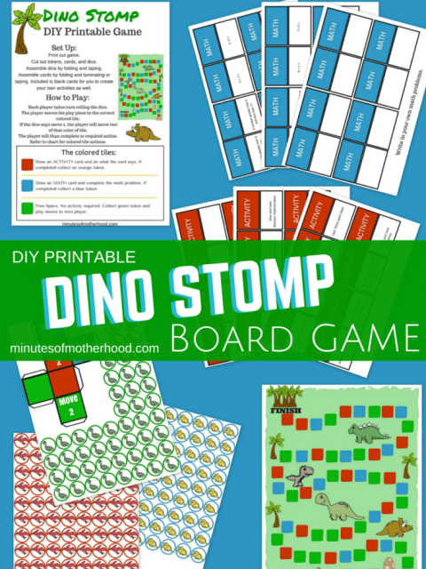 DIY Printable DIno Stomp Board Game For Ages 4-7