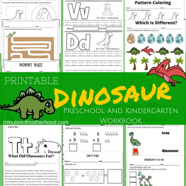 20+ Page Dinosaur Themed Free Printable Preschool and Kindergarten Workbook