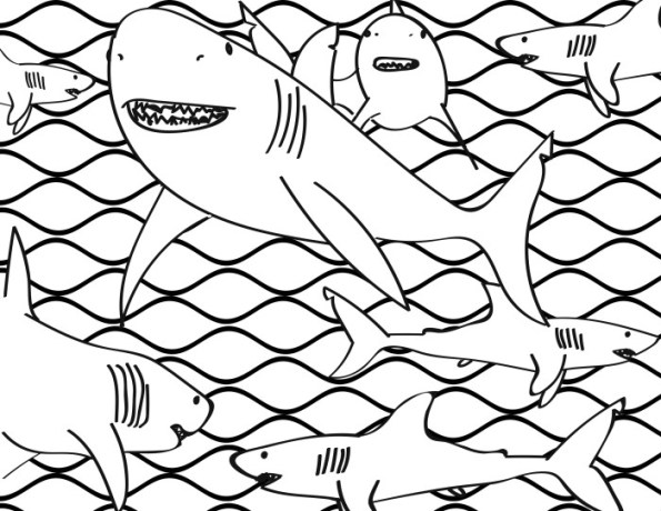 Shark Frenzy Coloring Page