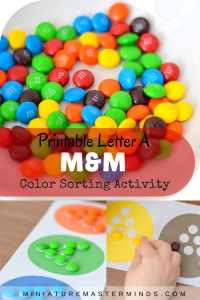 Printable Letter A M&M Color Sorting Activitiy