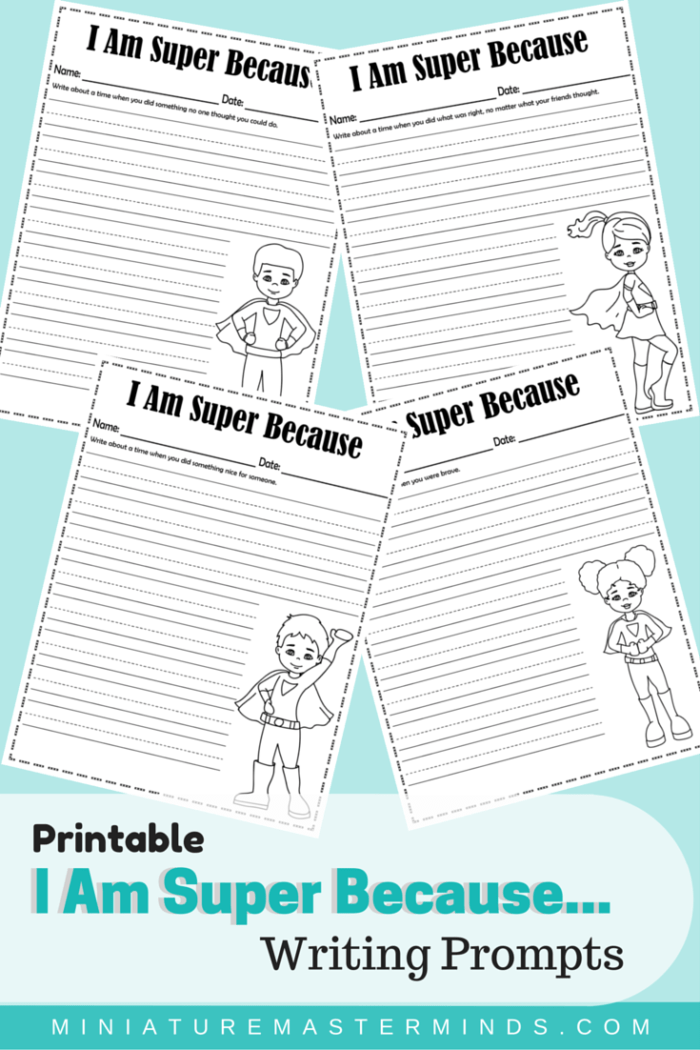 image regarding Printable Writing Prompts named Printable I Am Tremendous For the reason that Creating Prompts ⋆ Miniature