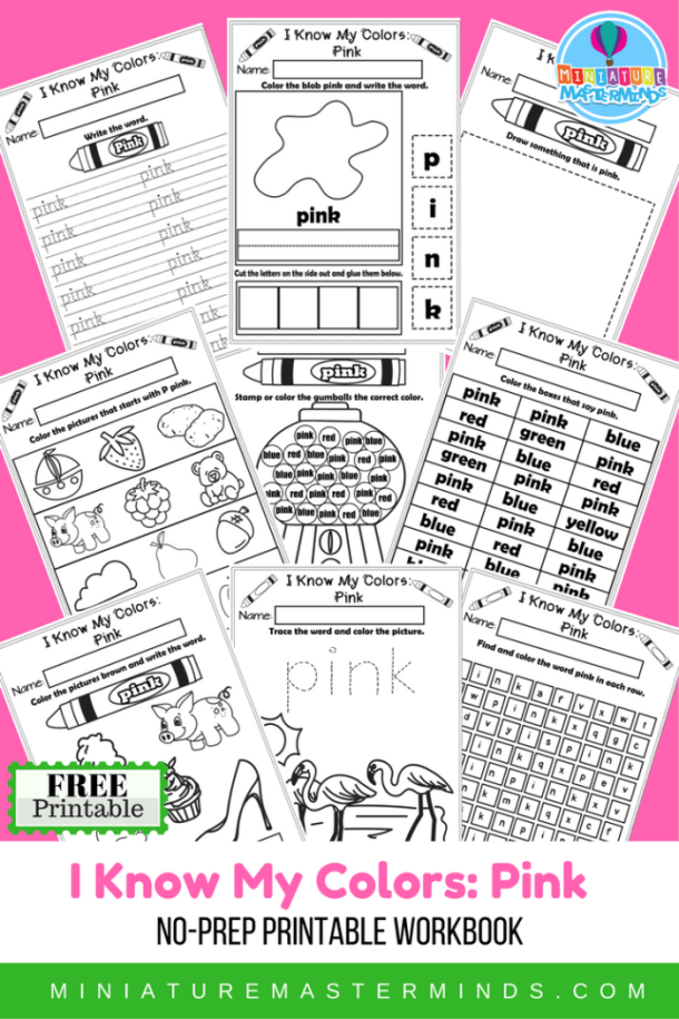 I Know My Colors Series Pink Free Printable No Prep 9 Page Workbook